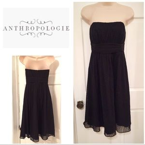 Anthropologie Shoshanna black dot strapless dress
